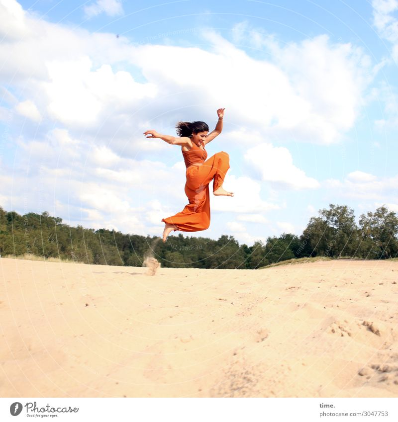 Airy through the country. Feminine Woman Adults 1 Human being Nature Sand Sky Clouds Horizon Beautiful weather Forest Shirt Pants Barefoot Brunette Long-haired