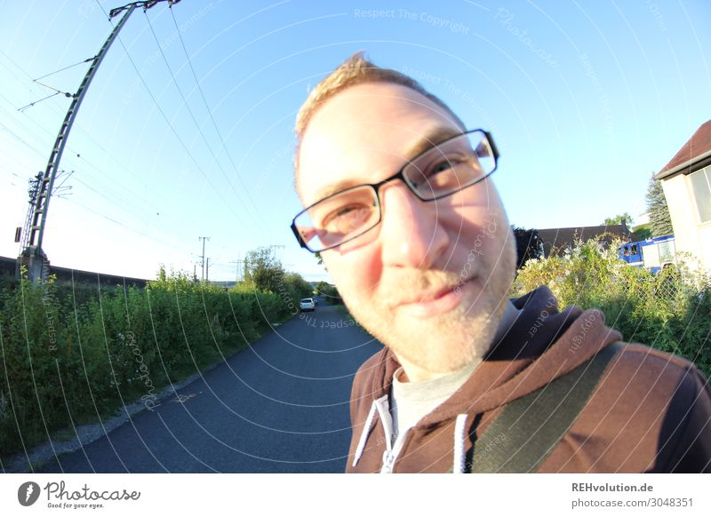 Fisheye young man with glasses outside Lifestyle Leisure and hobbies Human being Masculine Young man Youth (Young adults) Man Adults Face 1 18 - 30 years
