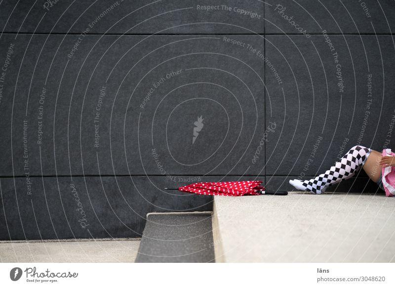 Woman Legs Wall (building) Lie Umbrella Umbrellas & Shades Stockings Chemnitz Charming
