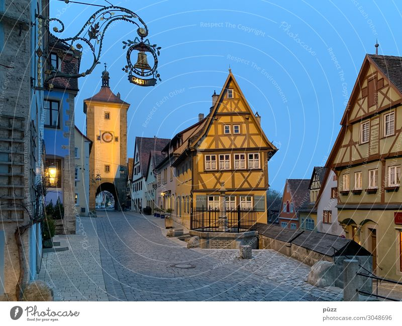 Rothenburg ob der Tauber Vacation & Travel Tourism Trip Sightseeing City trip Germany Village Small Town Downtown Old town Deserted
