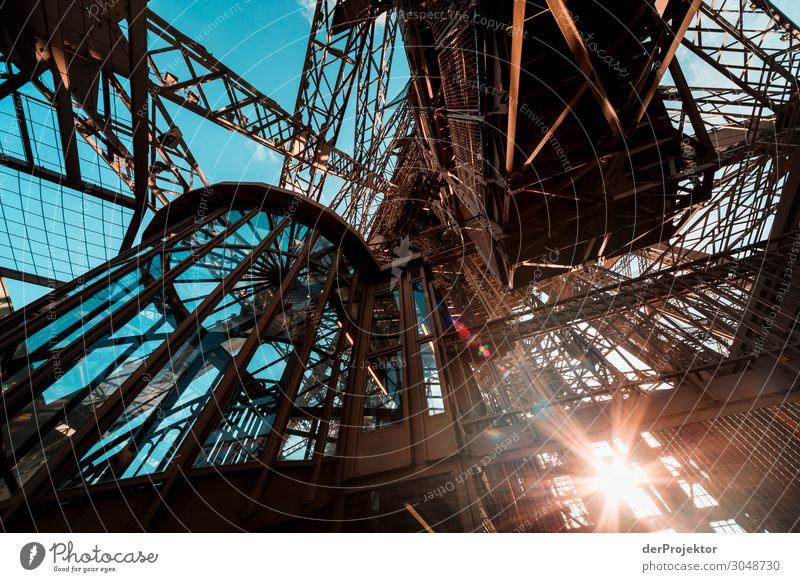 Eiffel Tower on the first platform Vacation & Travel Tourism Trip Adventure Sightseeing City trip Summer Manmade structures Building Architecture