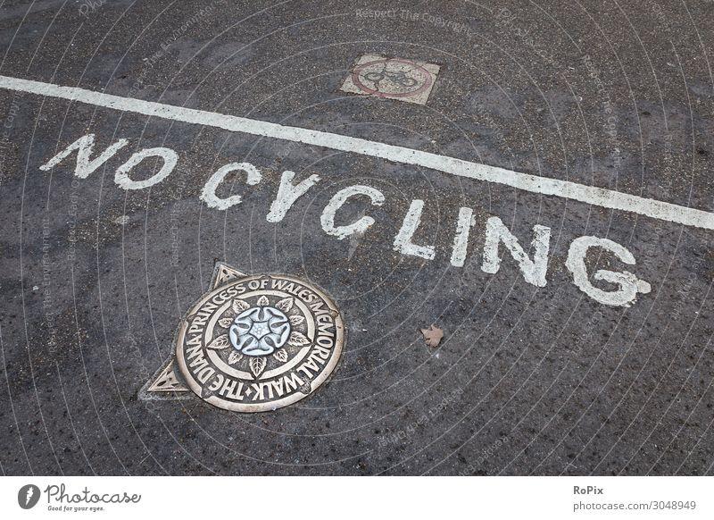 NO CYCLING Wheel bike Bicycle Street off traffic guidance Road safety interlocking blocks Transport Town urban city views Pictogram symbol cycle path bicycle