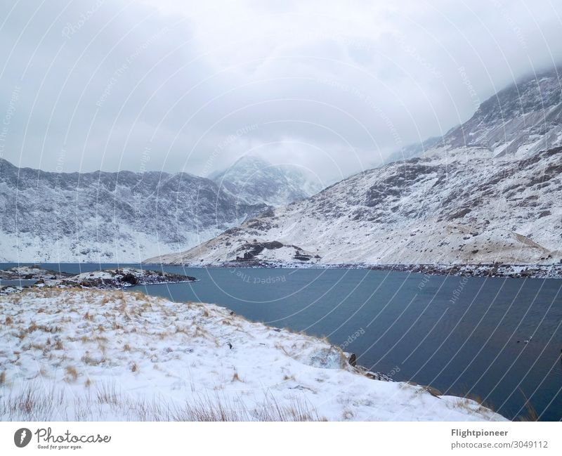 Llyn Llydaw at the foot of Mount Snowdon (Wales) in Winter Winter vacation Mountain Hiking Environment Nature Landscape Plant Elements Earth Water Clouds Ice