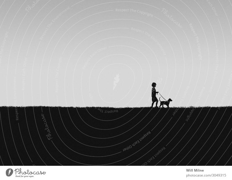 A Boy Walking His Dog Boy (child) Child Youth (Young adults) Young man Youth culture Pet Animal Hill To go for a walk Joy Minimal youth
