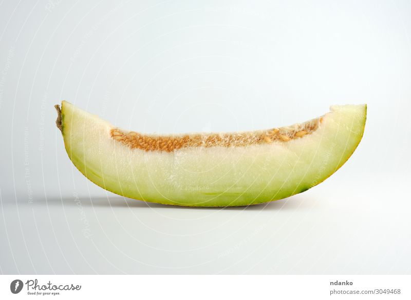 piece of ripe melon with seeds on a white background Vegetable Fruit Dessert Nutrition Vegetarian diet Diet Summer Nature Plant Eating Fresh Natural Juicy