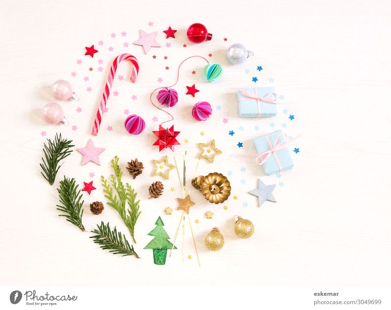 Christmas Flatlay Candy cane Decoration Feasts & Celebrations Christmas & Advent Round Green Pink White Christmas tree Card Still Life supervision flatlay