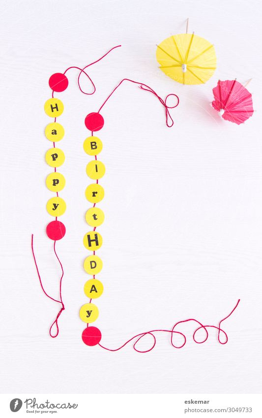 Happy Birthday Decoration Feasts & Celebrations Paper chain Places Happiness Yellow Red White Congratulations map birthday card Sincere English supervision
