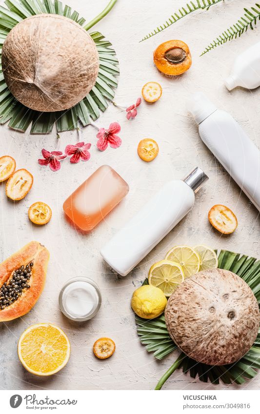 Beautiful Healthy Style Fruit Design Shopping Wellness Beauty Photography Personal hygiene Cosmetics Cream Vegan diet Bottle Organic farming Tropical Soap