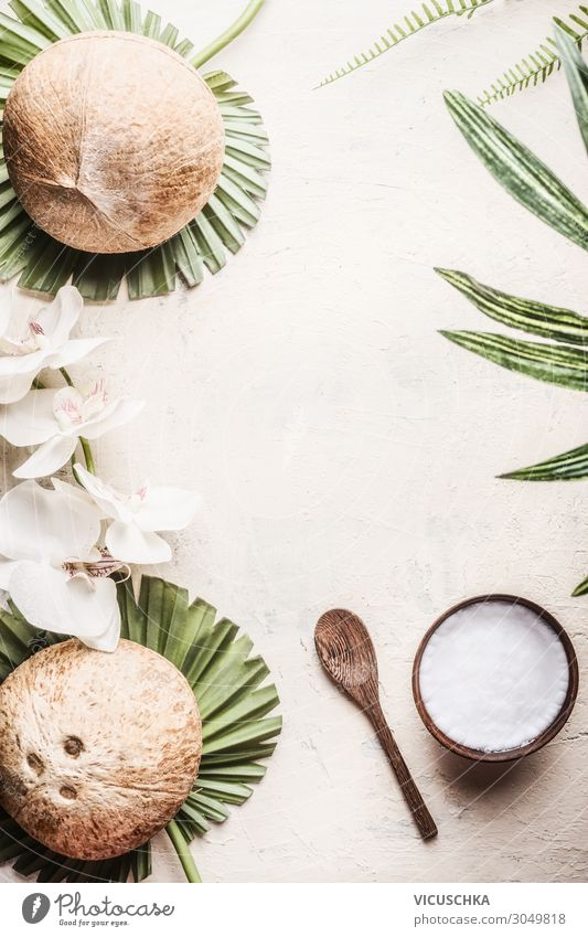 Wooden bowl with coconut oil and coconuts Food Design Beautiful Healthy Alternative medicine Healthy Eating Wellness Spa Nature Leaf Background picture tropical