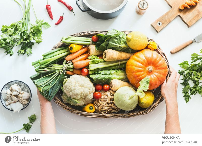 Women's hands holding vegetables from organic crates Vegetable Fruit Herbs and spices Nutrition Crockery Pot Shopping Design Healthy Eating Human being Hand