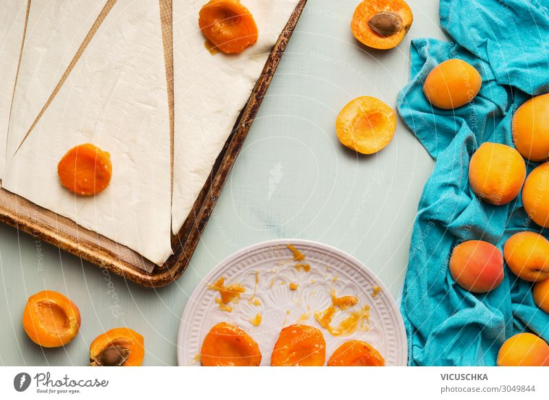 Baking croissants. Preparation with dough and apricots Food Fruit Croissant Nutrition Breakfast Design Summer Living or residing baking Background picture