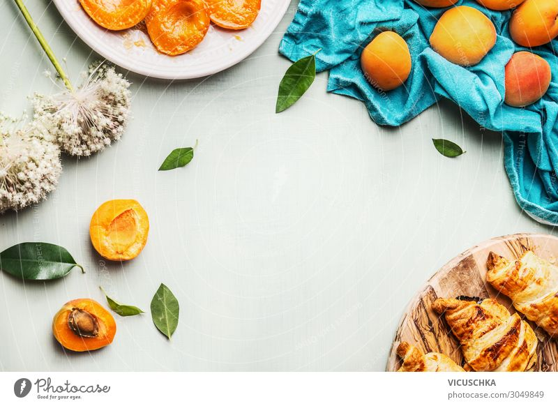 Croissants and apricots for breakfast Food Fruit Nutrition Breakfast Organic produce Crockery Design Living or residing Table Background picture Apricot