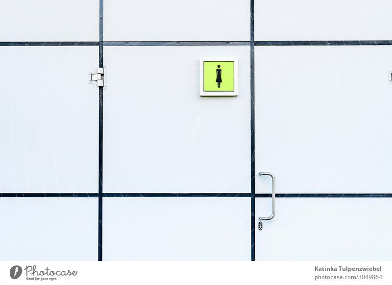 Ladies' secret room Art Door Glass Metal Plastic Sign Cold Town Toilet Closed Close-up Closet Entrance White Tile Minimalistic Ladies' bathroom Mysterious Woman