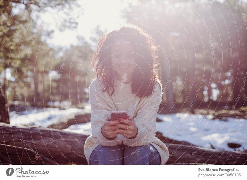 young beautiful woman outdoors using mobile phone Woman Human being Sky Vacation & Travel Nature Youth (Young adults) Young woman Beautiful Green Landscape Sun