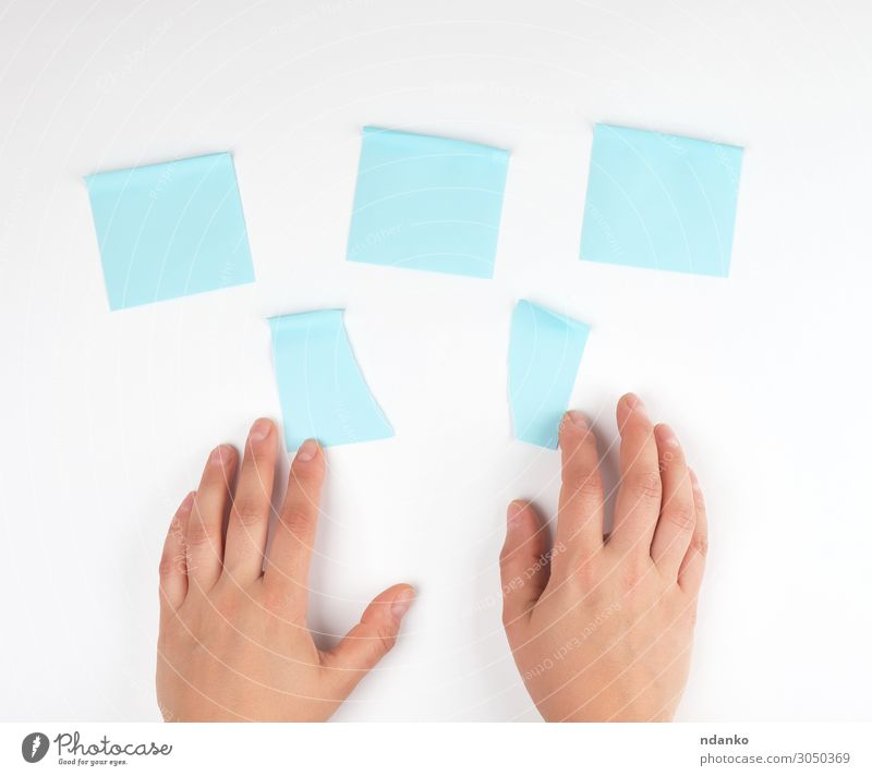 lot of blue stickers on a white background Office Business Internet Human being Woman Adults Hand Fingers Paper Touch Movement Blue White Colour Idea Teamwork