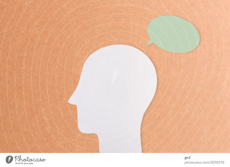 Head with speech balloon Meeting To talk Human being 1 Speech bubble Sign Communicate Esthetic Idea Identity Uniqueness Inspiration Study Problem solving Senses