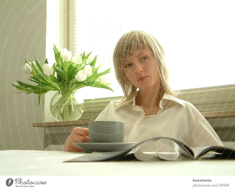 milk toast and honey Tulip Newspaper Magazine Breakfast Woman Light White Drinking Coffee Morning Relaxation Tea newsprint