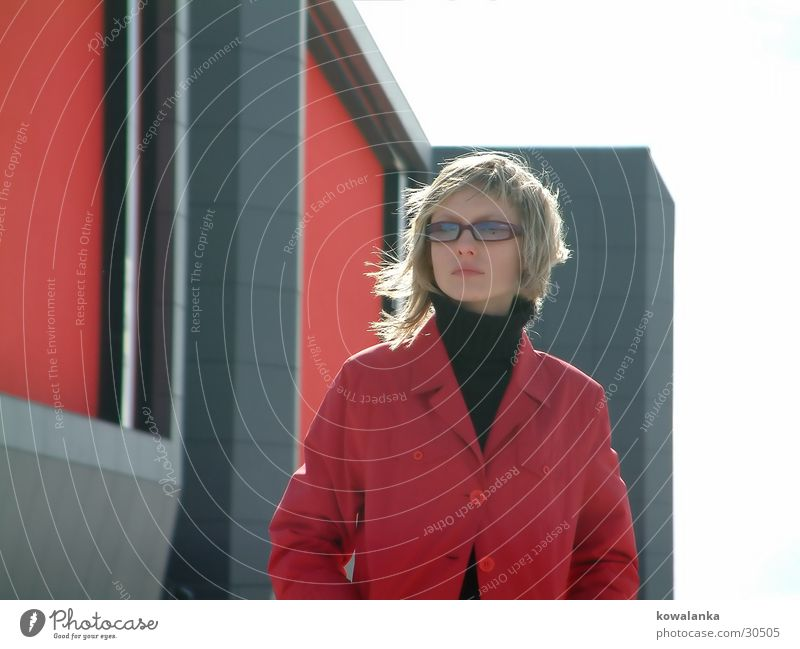Woman Red House (Residential Structure) Wall (building) Wind Coat