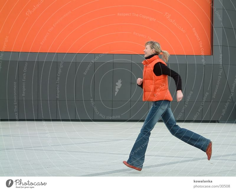 Woman Jump Time Orange Walking Speed Running Dynamics Haste Human being