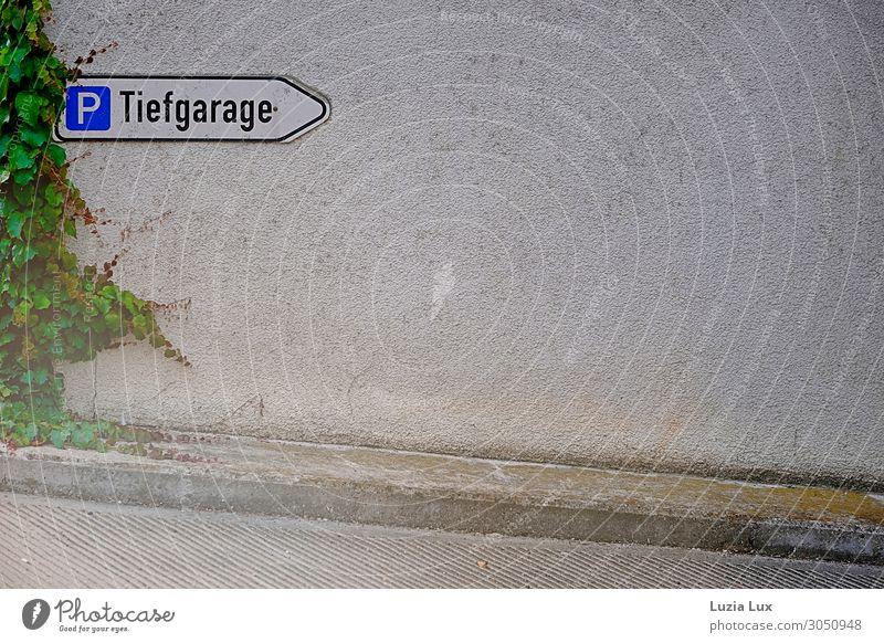 Town Green Wall (building) Wall (barrier) Gray Gloomy Concrete Arrow Motoring Tendril Parking garage Narrow Virginia Creeper