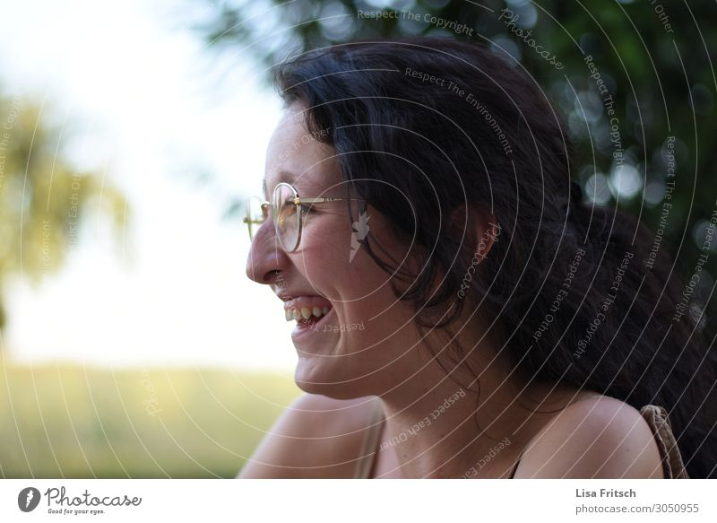 LAUGHING WOMAN - GLASSES - SUMMER Lifestyle Beautiful Tourism Summer Woman Adults 1 Human being 18 - 30 years Youth (Young adults) Eyeglasses Black-haired