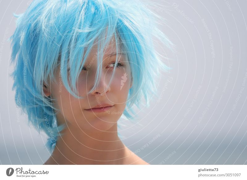 Human being Youth (Young adults) Young woman Summer Blue Beautiful Life Exceptional Fashion Hair and hairstyles 13 - 18 years Creativity Crazy Beautiful weather