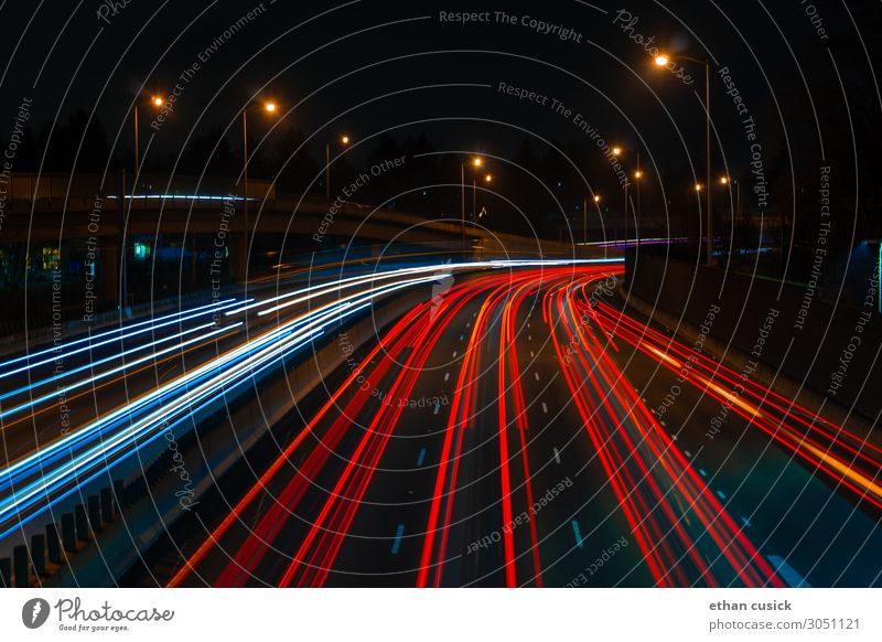 long exposure highway above highway Street Highway Overpass Vehicle Future Car lights Colour photo Exterior shot Deserted Night Artificial light Motion blur