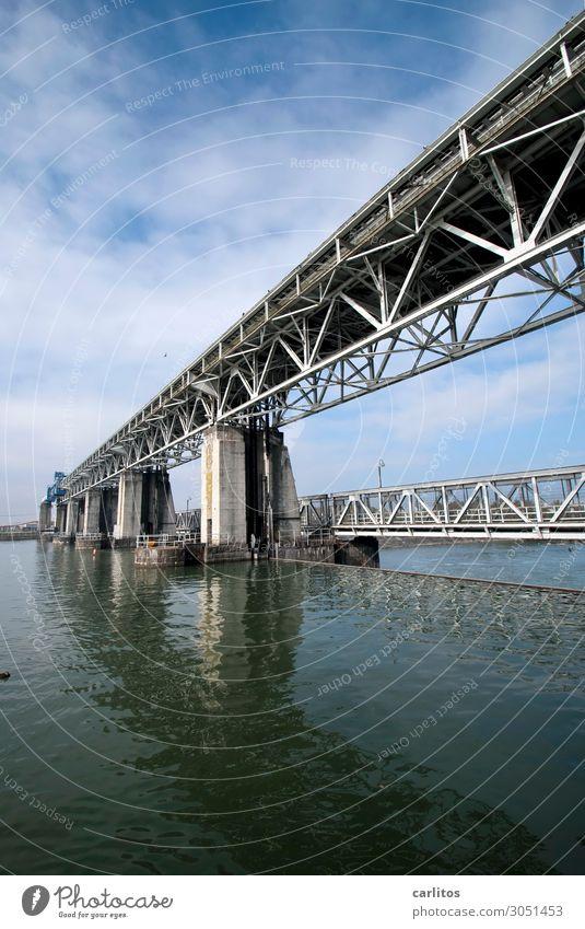 Horizontal grid structure Weil am Rhein Rhine Hydroelectric  power plant Bridge Water Force Energy Energy industry Steel Construction Bridge pier Reflection