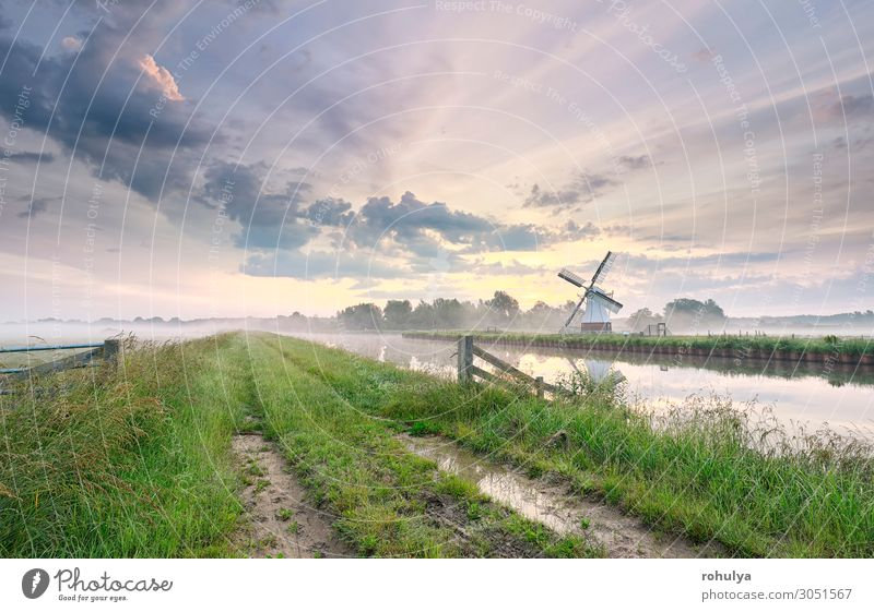 beautiful morning over charming windmill by river Beautiful Vacation & Travel Tourism Summer Culture Nature Landscape Sky Clouds Horizon Weather Fog River