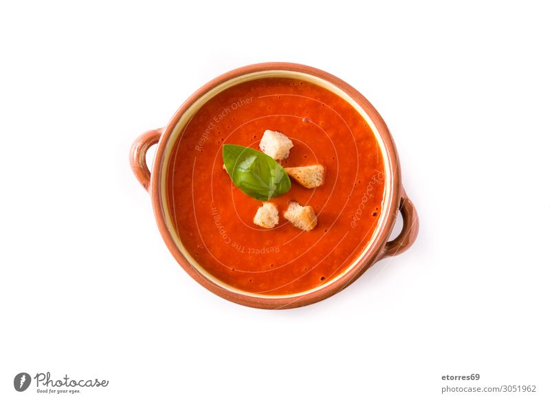 Tomato soup in brown bowl isolated on white background. Soup Food Healthy Eating Food photograph Bread Basil Red Vegetable Brown Bowl Vegetarian diet Cream