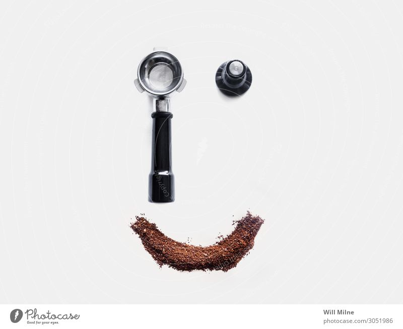 Espresso Tools and Coffee Smiley Face Beans Beverage Caffeine Grind grounds Hot Make Morning Powder Neutral Background Smiling