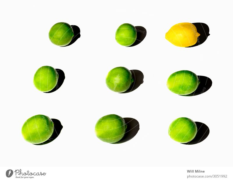 Limes and Lemons in a Grid Food Citrus fruits Fruit Green Yellow Simple Minimal Neutral Background Arranged Summer