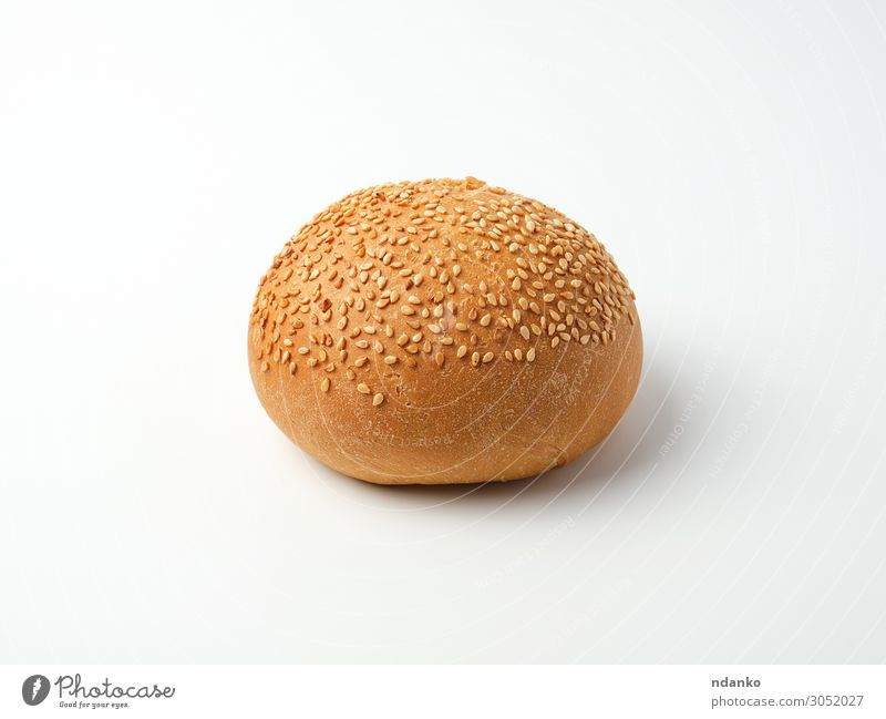 baked whole round bun with sesame seeds Bread Roll Eating Breakfast Lunch Dinner Fast food Brown White Crust Sesame Sandwich Meal burger Snack crusty Tasty