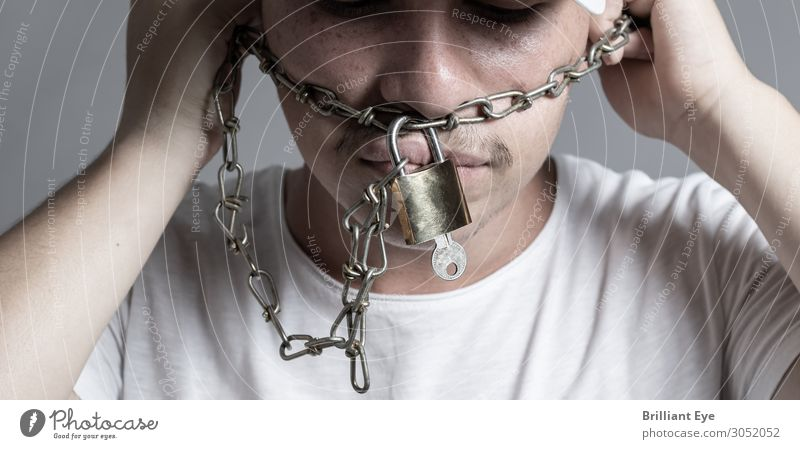 Disconnect chains Human being Masculine 1 18 - 30 years Youth (Young adults) Adults Chain Lock Metal Sign Key Diet Fight Threat Dark Rebellious Vice Bravery