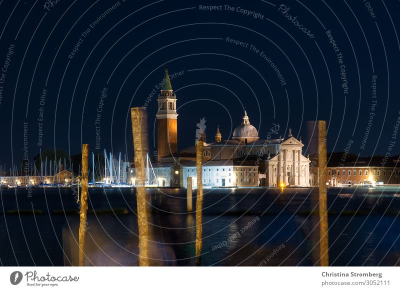 San Giorgio Maggiore by night Venice Campanile Italy Town Port City Church Maritime Culture Moody Water Night shot Gondola (Boat) Nocturnal color Lagoon