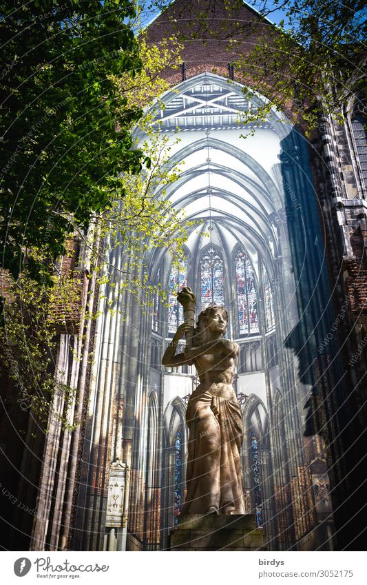 St. Martin Cathedral in Utrecht, statue before installation Feminine Woman Adults 1 Human being Art Statue Installations Beautiful weather Tree Dome