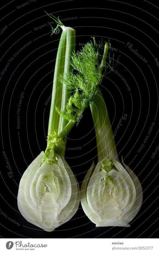 Healthy Eating Green White Black Nutrition Fresh Delicious Vegetable Organic produce Vegetarian diet Half Cut Fennel