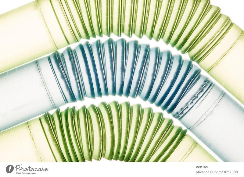 Around the curve Straw Pipe Conduit Plastic Round Blue Green disposable disposable plastic Curve Flexible plastic drinking straw Colour photo Studio shot