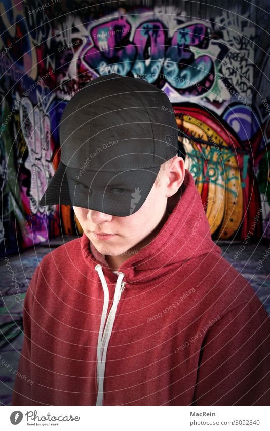 Graffiti Sprayer Man Adults 1 Human being 13 - 18 years Youth (Young adults) Art Culture Youth culture Cap Adventure Fear Esthetic Disaster Uniqueness Idea