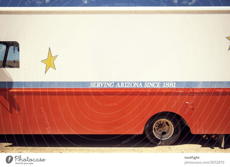 Old Retro Stars Transience Broken Historic Longing Vehicle Bus Truck Means of transport Vintage car Arizona