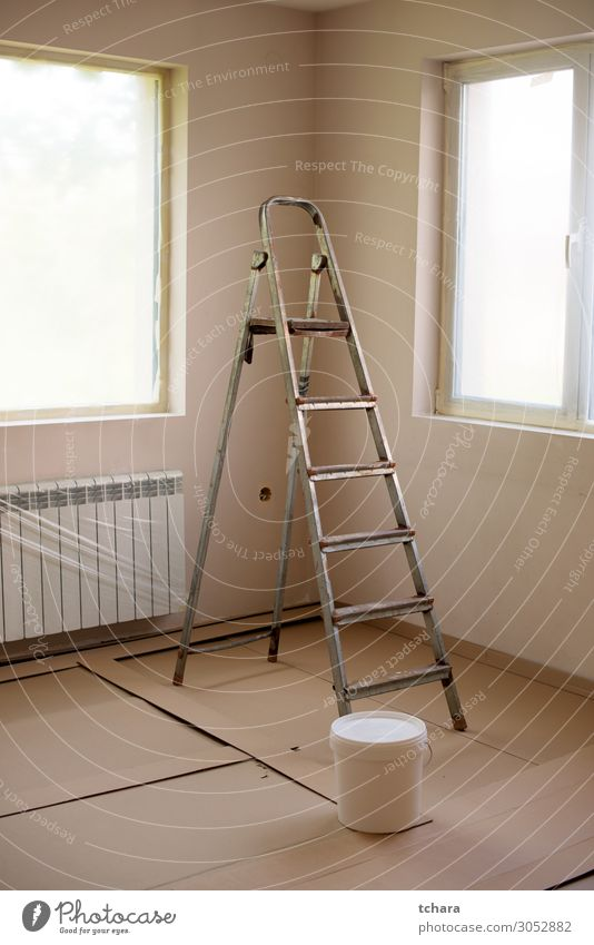 Painting walls in room with ladder during renovation Design Flat (apartment) House (Residential Structure) Decoration Wallpaper Work and employment Tool