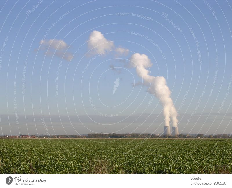 Clouds Field Industry Electricity Bavaria Blue sky Steam Electricity generating station Nuclear Power Plant
