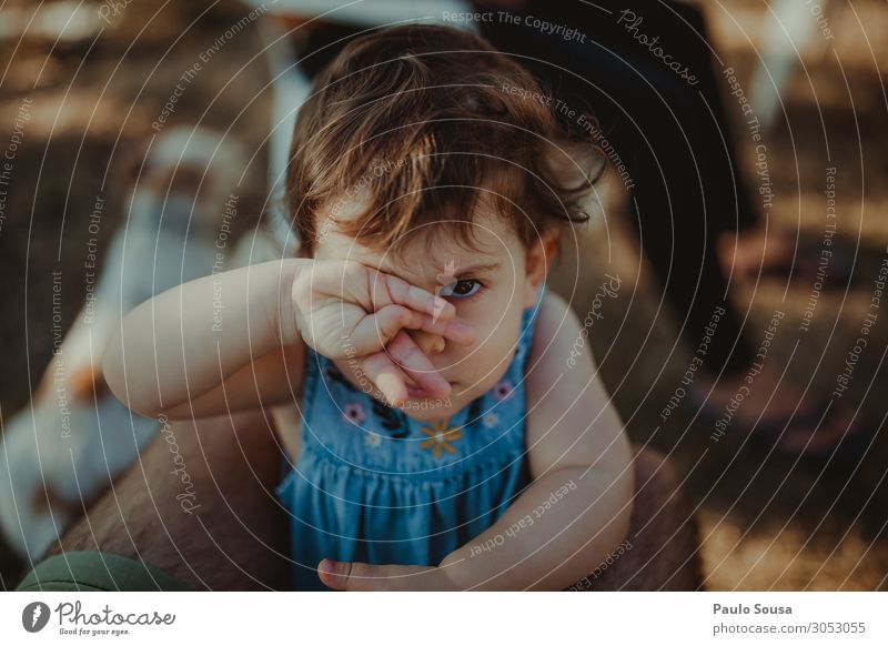 Little girl covering eye with hand Child Human being Girl Lifestyle Love Natural Funny Together Friendship Communicate Happiness Authentic Baby Observe