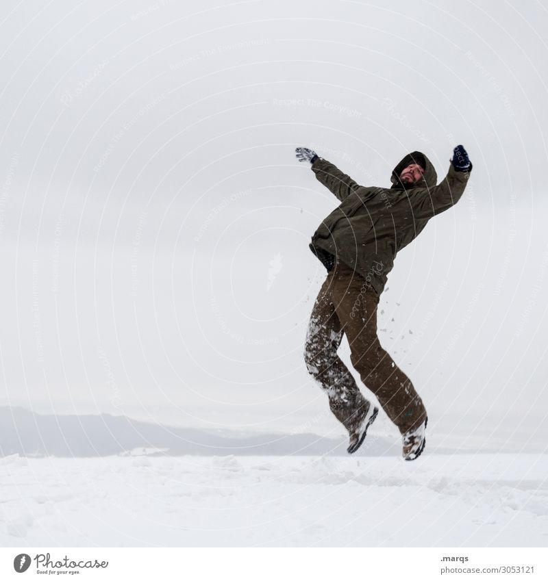 lift-off Man Adults 1 Human being 18 - 30 years Youth (Young adults) 30 - 45 years Nature Clouds Winter Snow Snow layer Jacket Hooded (clothing) To fall Flying
