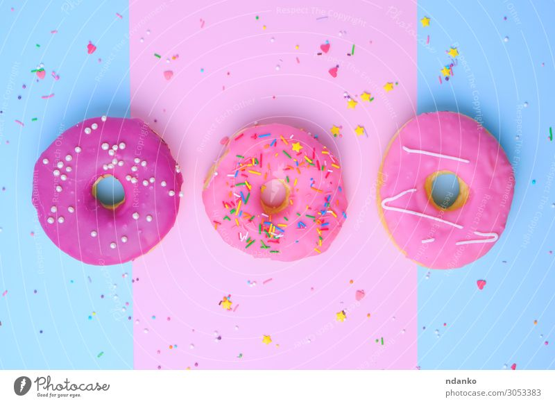 three round different sweet donuts Dough Baked goods Cake Dessert Candy Nutrition Breakfast Decoration Feasts & Celebrations Paper Eating Exceptional Fresh