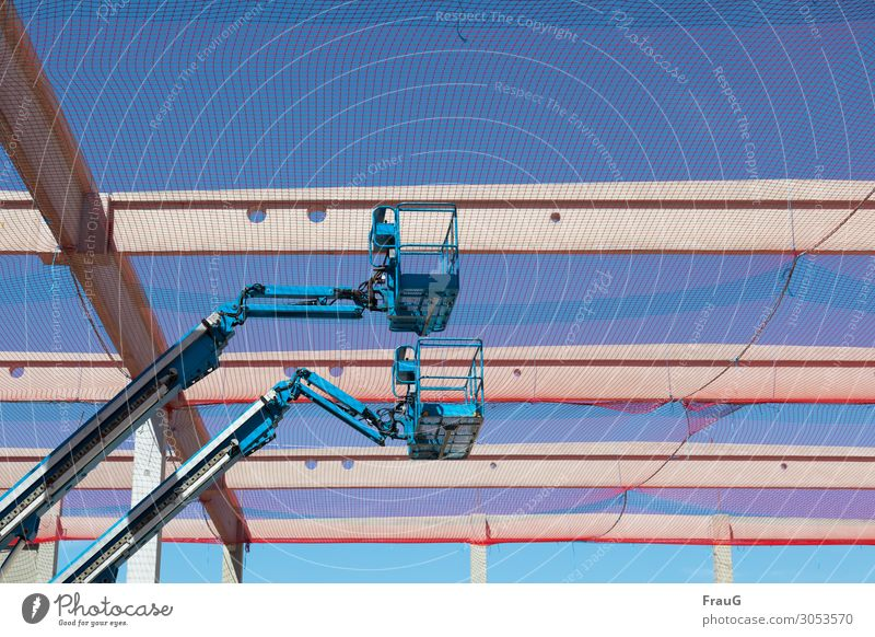 double stroke Construction machinery Industry Cloudless sky Beautiful weather hubcreaser working platform Net Blue Safety Protection Construction site In pairs