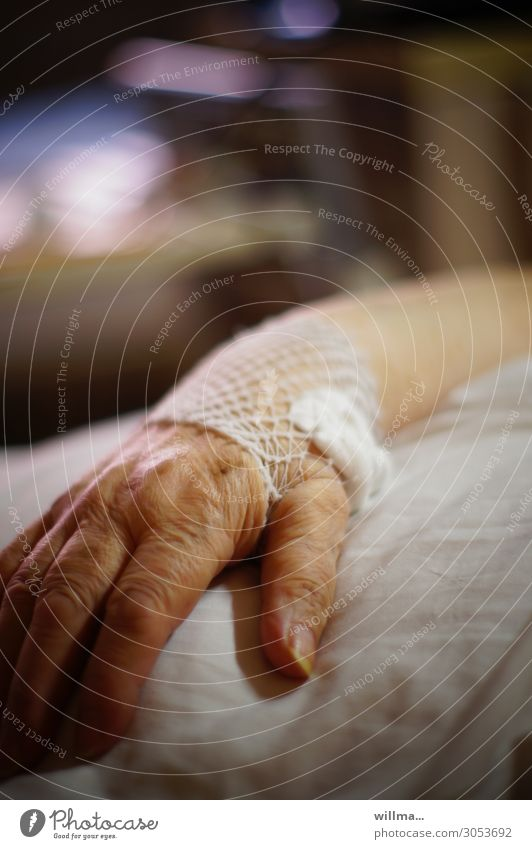hand of a senior citizen on a hospital bed Hand Patient Hospital Medical treatment Illness Health care Female senior Care of the elderly Nursing Bandage Gauze