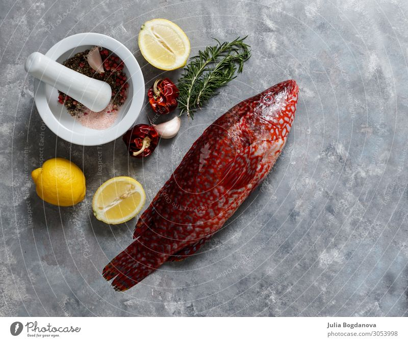 red fish, Ballan wrasse raw fresh ready to be cooked, top view Seafood Nutrition Eating Dinner Diet Ocean Nature Animal Stone Dark Fresh Delicious Natural Wild