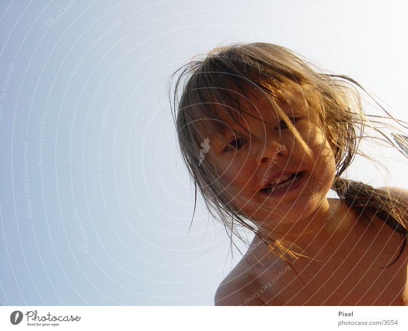 Lizzy in Action Summer Child Portrait photograph postcard motif Sky Graffiti