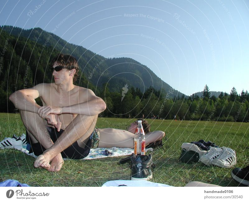 chill in the mountains Lake Upper body Man Meadow Sunglasses Mountain Nature